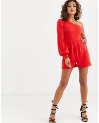 ASOS One Shoulder Blouson Sleeve Playsuit - Red