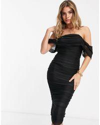 Missguided Черное Платье Миди С Сетчатой Драпированной Отделкой -черный