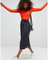 ASOS - Asos Tailored Paper Bag Waist Split Side Midi Pencil Skirt In Pin Stripe - Lyst