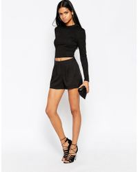 AX Paris - Shorts With Crochet Lace Insert - Lyst