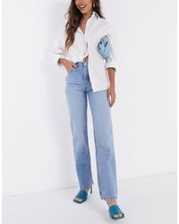 ASOS Vaqueros con pernera recta y talle medio estilo años 90 en un lavado medio - Azul