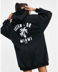 ASOS Oversized Mini Sweatshirt Hoodie Dress - Black