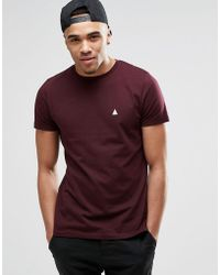 ASOS - T-shirt With Crew Neck And Logo In Oxblood - Lyst