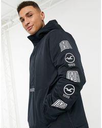 Hollister Черная Куртка Через Голову На Флисовой Подкладке С Капюшоном И Логотипом На Рукаве -черный