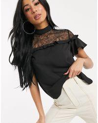Lipsy Lace Insert Pretty Blouse - Black