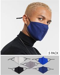 ASOS 5-pack Face Covering With Adjustable Straps And Nose Clip - Blue