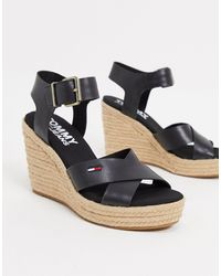 Tommy Hilfiger Wedge Sandals - Black