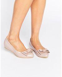 Glamorous Light Pink Patent Ballerina Bow Shoes