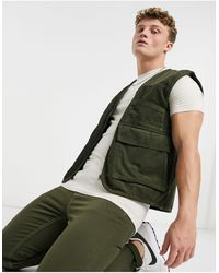 Another Influence Another Influnce Co-ord Cord Utility Waistcoat - Green