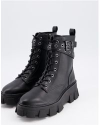 Stradivarius Chunky Lace Front Boots - Black
