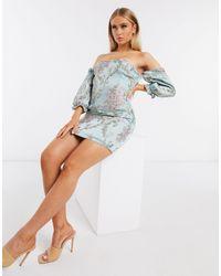 Naanaa Jacquard Bardot Mini Dress - Blue