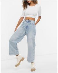 SELECTED Femme – Thea – Jeans aus Bio-Baumwolle mit weitem Bein - Blau