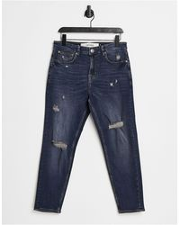 New Look Tapered Jeans With Rips - Blue