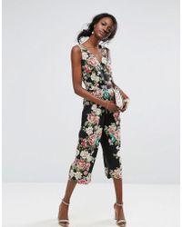 Oasis Royal Worcester Floral Print V Front Jumpsuit - Black