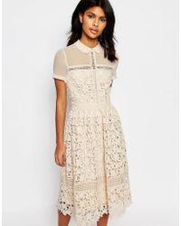 Warehouse Lace Collar Dress - Natural