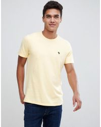 Abercrombie & Fitch - Icon Moose Logo Crew Neck T-shirt In Yellow - Lyst