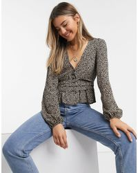 Pull&Bear Button Front Blouse - Multicolour