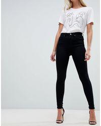 ASOS 'sculpt Me' Premium Jeans Met Hoge Taille - Zwart