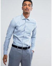 Reiss - Slim Smart Shirt In Melange - Lyst