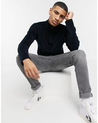 French Connection Chenille Half Zip Sweater - Blue