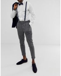 ASOS Suspender And Bow Tie Set In Navy With Grid Print - Blue