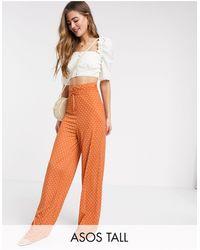 ASOS Asos Design Tall Satin Tie Waist Wide Leg Trouser - Orange