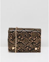French Connection - Faux Snakeskin Envelope Back With Chain Strap - Lyst