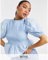 New Look Голубая Блузка С Присборенным Передом -голубой - Синий