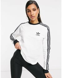 adidas Originals Adicolor Three Stripe Long Sleeve T-shirt - White
