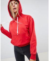 Bershka - Basic Hooded Sweater In Red - Lyst