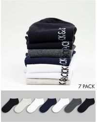 Jack & Jones Набор Из 7 Спортивных Носков Разных Цветов В Серой Гамме -черный