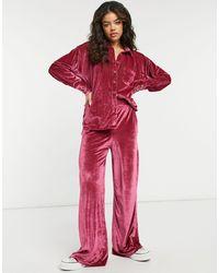 Free People Розовый Велюровый Костюм Для Дома Из Рубашки И Брюк С Широкими Штанинами Kit Kat-черный Цвет - Красный