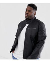 ASOS Plus - Gewatteerd Jack Van Imitatieleer - Zwart