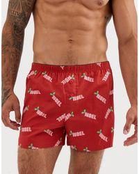 """ASOS Boxer natalizi rossi con scritta """"noel"""" - Rosso"""