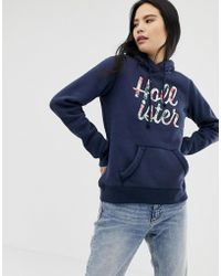 Hollister - Floral Embroidered Logo Hoodie - Lyst