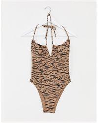 Abercrombie & Fitch Tie Shoulder Detail Swimsuit - Multicolour