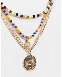 ASOS Collier avec chaîne et perles variées - Métallisé
