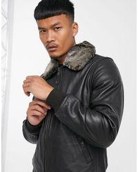 Schott Nyc Lc930d Pilot Premium Leather Jacket With Detachable Faux Fur Collar - Brown