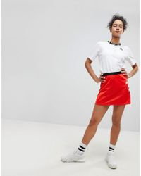 Kappa Mini Skirt With Popper Side And Logo Print - Red