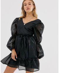 NA-KD Organza Mini Smock Dress In Black