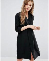 Closet Wardrobe Wide V-neck Split Panel Dress - Black