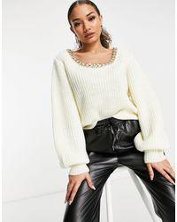 4th & Reckless - Maglione color crema con dettaglio a catena - Lyst