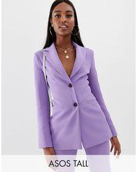ASOS ASOS DESIGN Tall – Pop – Taillierter Anzugblazer - Lila