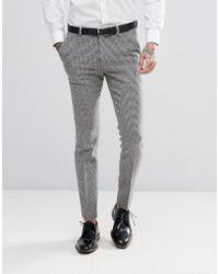 ASOS Wedding Super Skinny Suit Pants In Gray Houndstooth