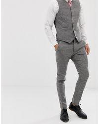 ASOS - Pantalones de traje muy ajustados con pata de gallo gris de Wedding - Lyst
