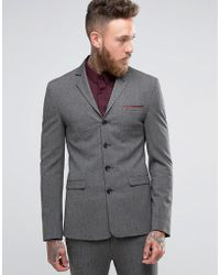 ASOS - Super Skinny Four Button Suit Jacket In Salt And Pepper - Lyst