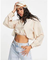 In The Style Camisa corta color crema con mangas globo de - Multicolor