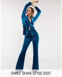 ASOS Jersey Kick Flare Suit Pant - Blue