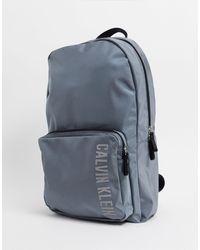 Calvin Klein Performance – Zinnfarbener Backpack mit Logo - Grau