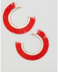 Missguided - Red Fringe Hoop Earrings - Lyst